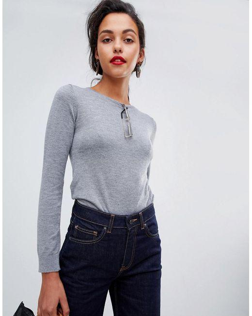 Mango - Gray Fine Gauge Knitted Jumper Top - Lyst