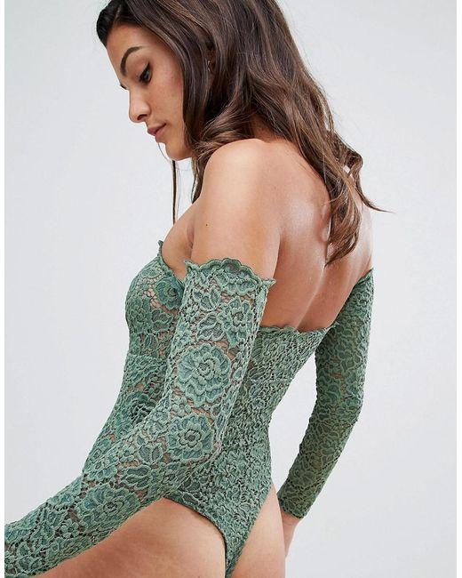 d2ebe1f66a51 ... ASOS - Green Asos Lex Premium Lace Long Sleeve Off Shoulder Bodysuit -  Lyst