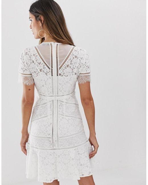 2f801bd51e3 ... French Connection - White Chante Lace Midi Dress - Lyst