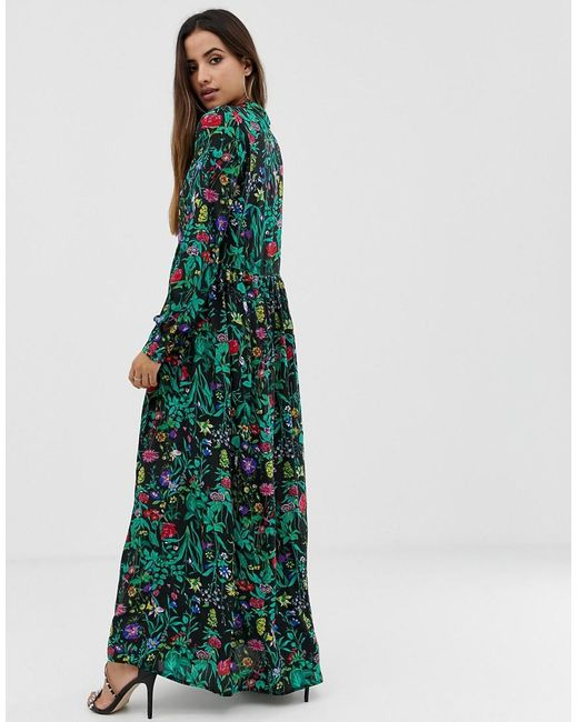 458199508 ... PRETTYLITTLETHING - Green Button Down Maxi Shirt Dress In Black Floral  - Lyst