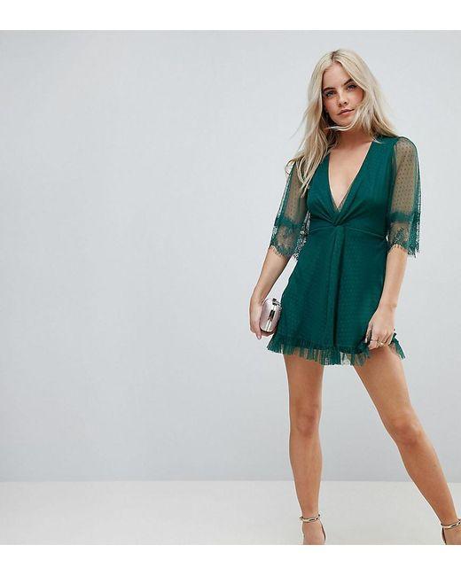 ASOS - Green Dobby Knot Front Lace Trim Mini Skater Dress - Lyst