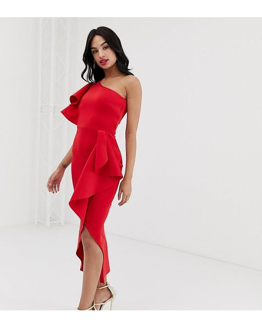 cffe30e690 True Violet Exclusive One Shoulder Frill Wrap Dress In Red in Red - Lyst