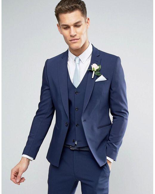 ASOS | Blue Wedding Skinny Suit Jacket With Square Hem In Navy for Men | Lyst