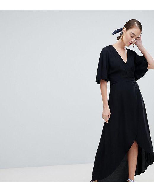 4eaf44de871 New Look - Black Wrap Asymmetric Dress - Lyst ...