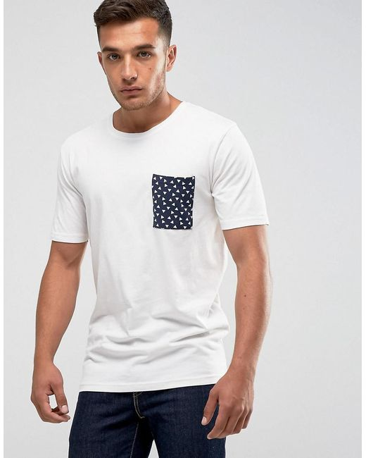 Lyst only sons t shirt with printed pocket in white for Pocket t shirt printing