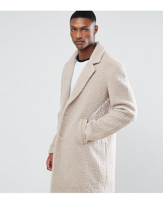 ASOS - Natural Tall Relaxed Borg Overcoat In Ecru for Men - Lyst