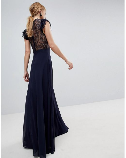 a730a409aca ... ASOS - Blue Asos Lace Maxi Dress With Lace Frill Sleeve - Lyst