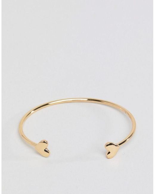 ASOS - Metallic Cuff Bracelet With Heart Detail In Gold - Lyst