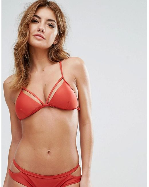 RVCA | Red Ladder Back Bikini Top | Lyst