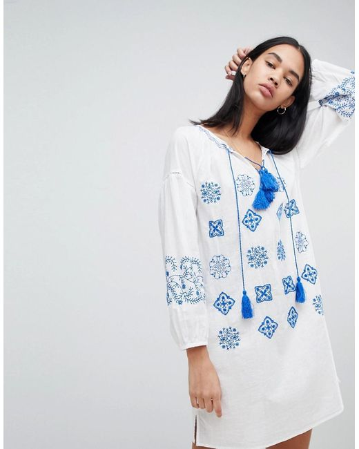 Pepe Jeans - White Kate Embroidered Tunic Dress - Lyst