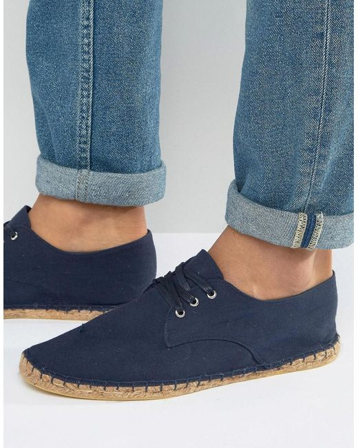 ASOS - Blue Derby Espadrilles In Navy Canvas - Lyst