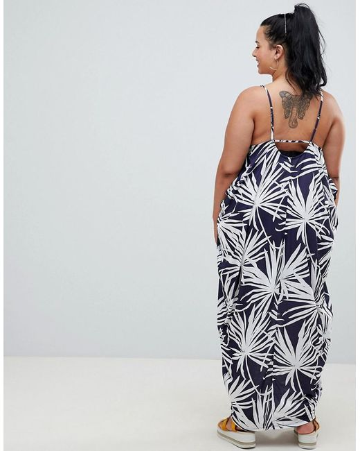 Looking For Online ASOS ASOS DESIGN Curve tab back drape hareem maxi dress in navy palm print Store With Big Discount Recommend Cheap Online Supply Cheap Price 0ykqAS8m