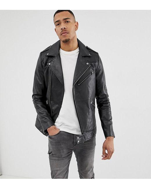 70ea960ba588f Lyst - Asos Tall Leather Racing Biker Jacket In Black in Black for Men