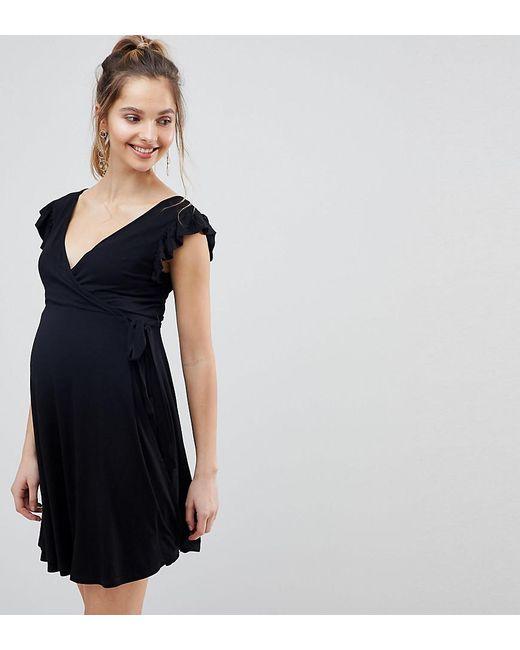 fa2ba54c37ea1 ASOS - Black Asos Design Maternity Wrap Frill Sleeve Sundress - Lyst ...