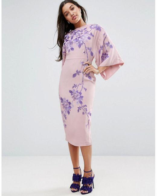 ASOS | Natural Embroidered Kimono Midi Dress | Lyst