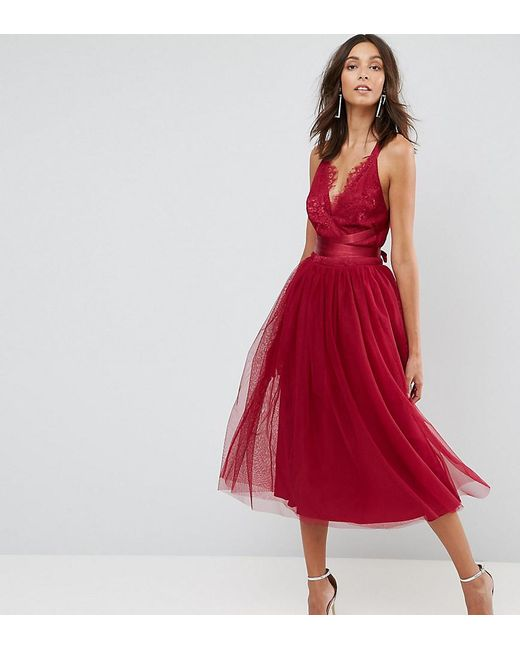 Lyst Asos Premium Lace Top Tulle Midi Prom Dress With Ribbon Ties