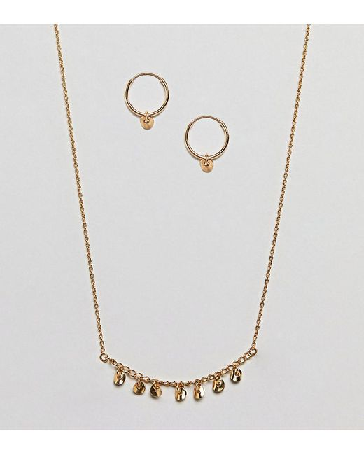 ASOS | Metallic Gold Plated Sterling Silver Gift Set With Disc Hoop Earrings & Chain Necklace | Lyst