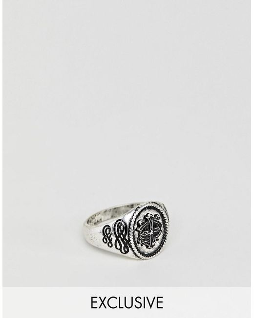 Reclaimed (vintage) - Metallic Inspired Signet Ring With Emboss In Silver Exclusive At Asos for Men - Lyst