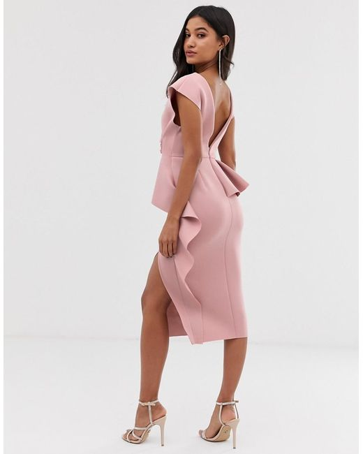 6a969ca1a4 ... ASOS - Pink Peplum Pencil Midi Dress With Tuck Detail - Lyst