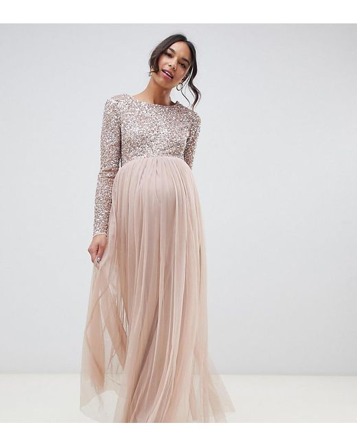 2cf80a8892 Maya Maternity - Brown Bridesmaid Long Sleeved Maxi Dress With Delicate  Sequin And Tulle Skirt ...