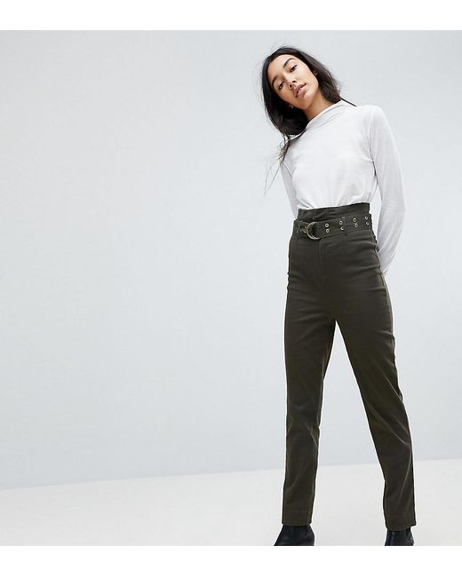 e5e347e9357c ASOS - Green Asos Design Tall Stevie High Waisted Peg Pants With Extra Long  Belt In ...