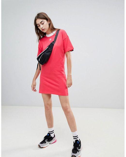 Lyst - Robe avec logo trfle adidas Originals en coloris Rose 444250acaaf