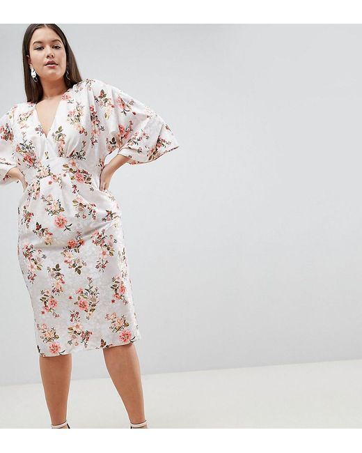 636621494656 ASOS - Pink Asos Design Curve Kimono Midi Dress In Printed Floral Jacquard  - Lyst ...