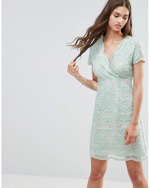 Darling | Green Short Sleeve Lace Shift Dress | Lyst