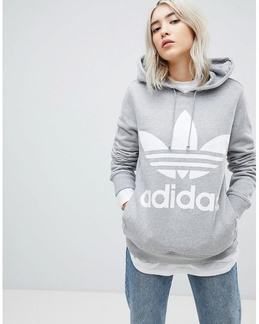 e0790f6ffac8 adidas Originals Adicolor Trefoil Hoodie In Grey in Gray - Save 42 ...