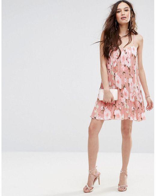 Floral Printed Plisse Slip Dress - Pink Missguided YqMEGwmq
