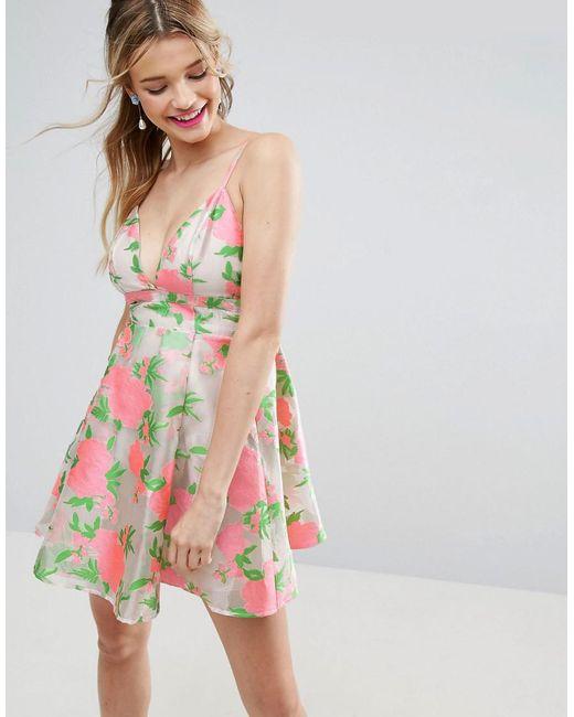 Lyst asos salon floral organza pinny mini prom dress in pink - Salon prestige organza ...