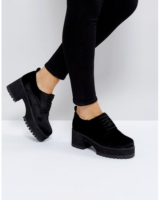 ASOS | Black Omega Chunky Lace Up Heels | Lyst
