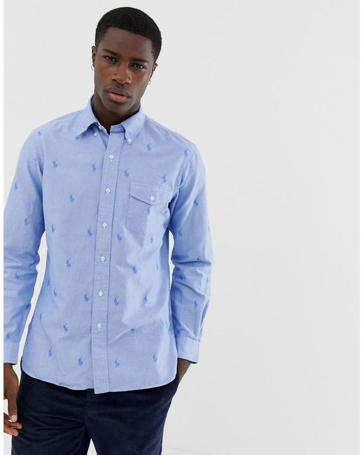 5d99d00e Polo Ralph Lauren - Blue Custom Regular Fit All Over Pony Oxford Shirt With Button  Down ...