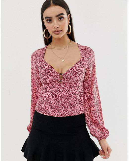 Fashion Union - Pink Balloon Sleeve Blouse With Ring Detail In Floral - Lyst
