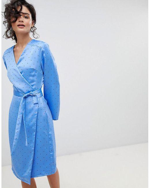 Gestuz - Blue Polka Dot Wrap Dress - Lyst