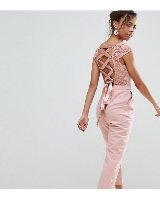 ASOS - Pink Lace Top Jumpsuit With Lattice Back - Lyst
