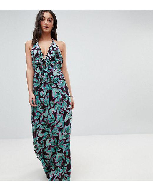 ASOS - Multicolor Asos Design Tall Tropical Pop Print Bunny Tie Woven Maxi Dress - Lyst