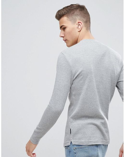 Grandad Neck Long Sleeve Top - Grey D-Struct Cheap Sale Inexpensive Discount Cheap Fast Delivery For Sale 1hhiDAM8O