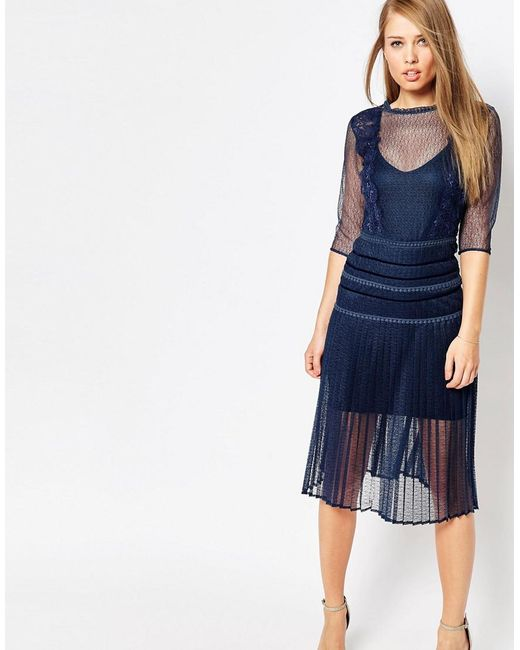 Body Frock | Blue Louisa Sculpting Dress With Pleat Skirt And Lace | Lyst