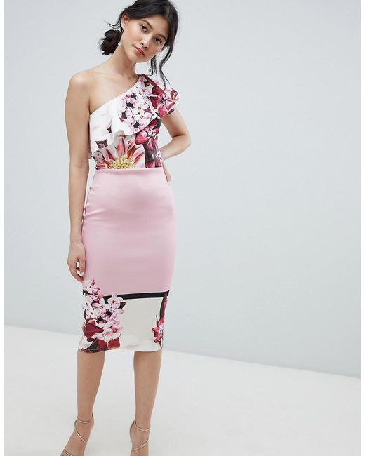 8fc66c178c70d True Violet - Pink One Shoulder Midi Bodycon Dress In Placement Print -  Lyst ...
