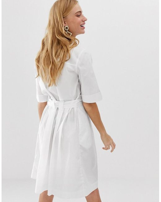 94457a340144 Monki Tie Waist Shirt Dress In White in White - Lyst