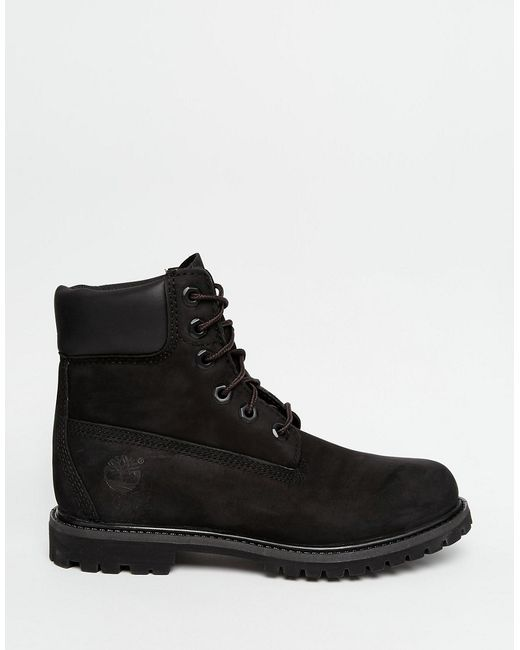 timberland 6 inch premium black lace up flat boots in