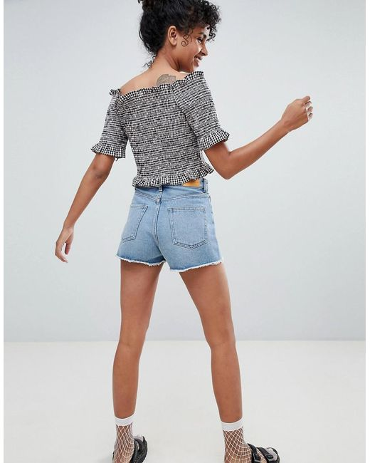 Distressed Cut Off Denim Shorts - Blue Monki 78AVof1ne