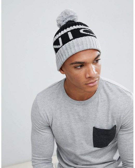 Nicce London - Nicce Bobble Hat In Gray With Logo for Men - Lyst