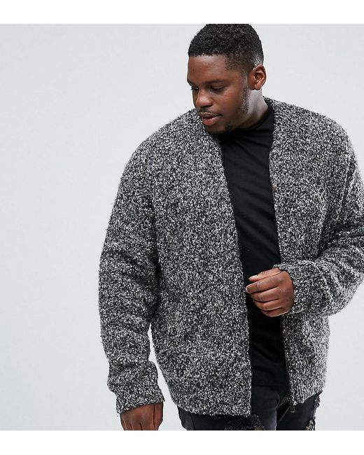 ASOS | Gray Plus Heavyweight Knitted Textured Bomber In Charcoal for Men | Lyst