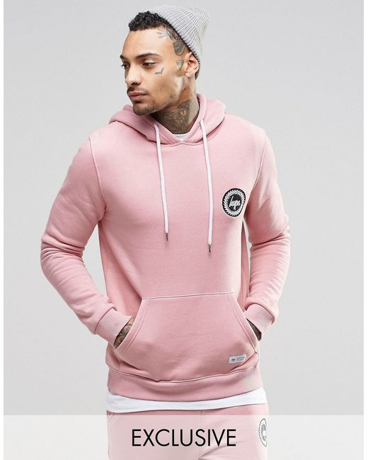 hype hoodie with crest logo in pink for men lyst