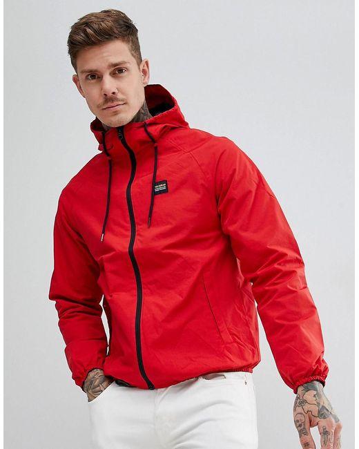 pull bear waterproof hooded jacket in red in red for men. Black Bedroom Furniture Sets. Home Design Ideas