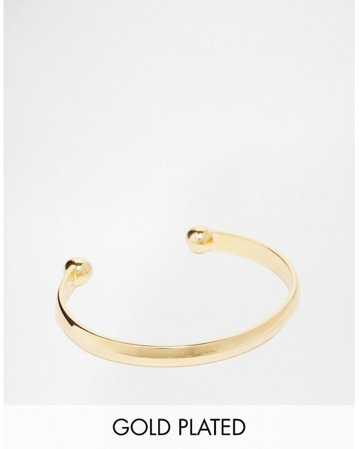 ASOS | Metallic Gold Plated Bangle for Men | Lyst