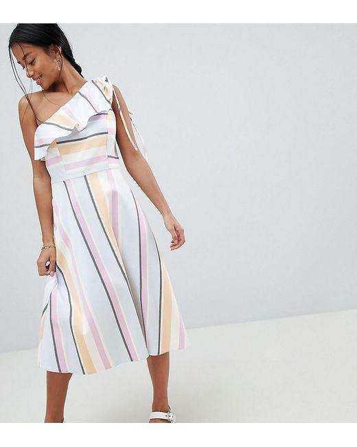 29777fd9b35 ASOS - Multicolor Robe mi-longue asymtrique avec rayures pastel - Lyst ...