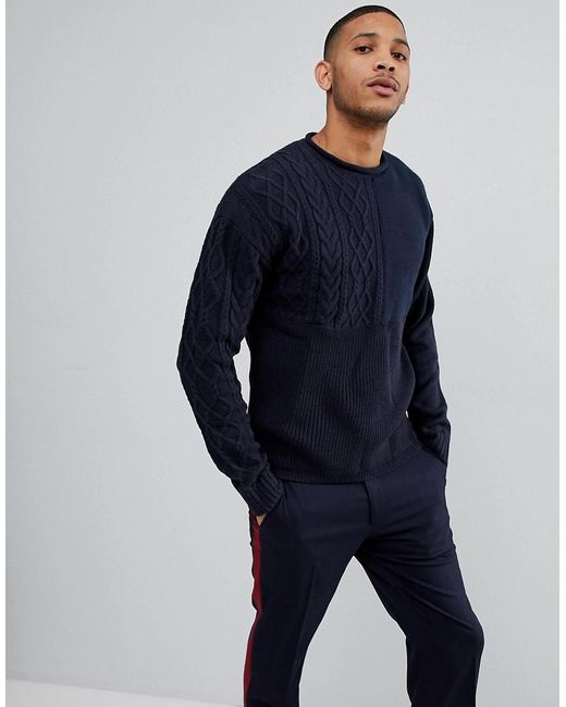 Bellfield Blue Sweater With Mixed Textures for men